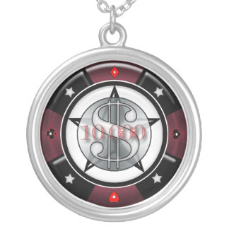 $10,000.00 Gambling Casino Poker Chip Silver Plated Necklace