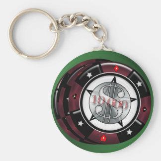 $10,000 Gambling Poker Chips Stack Keychain