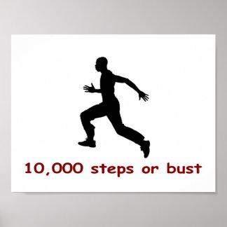 10.000 pasos o busto póster