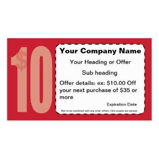 $10,00 De tarjeta de visita de la cupón
