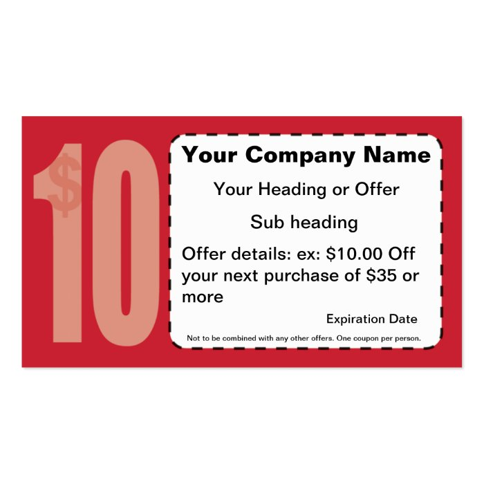 $10 00 f Coupon Business Card