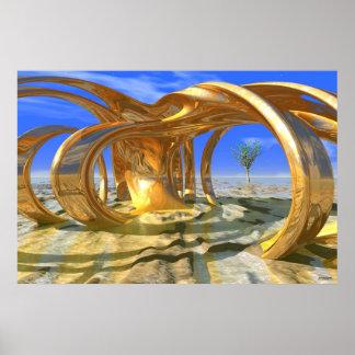 #10-02 Hacienda Sunrise: Golden 3D Sculpture Poster