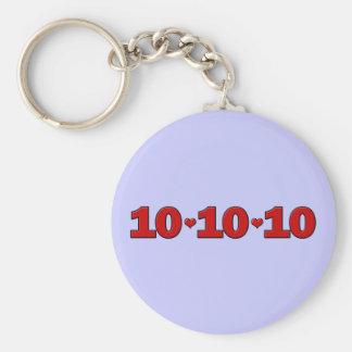 10-10-10 Hearts Basic Round Button Keychain