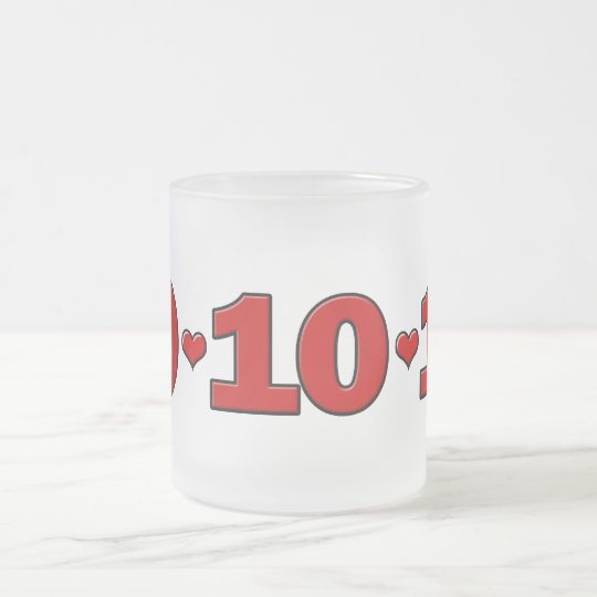 10-10-10 Hearts Frosted Glass Coffee Mug