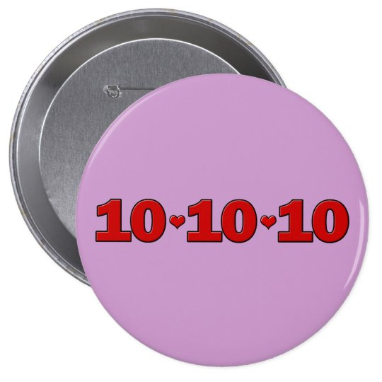 10-10-10 Hearts Pinback Button