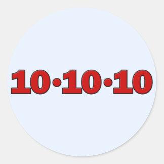 10-10-10: October 10, 2010 Classic Round Sticker