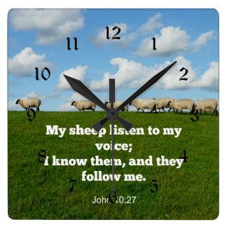 10:27 de Juan mis ovejas Reloj Cuadrado