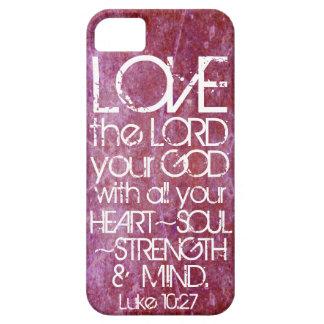 10:27 de Lucas del verso de la biblia de la mente iPhone 5 Funda