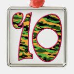 10 Age Camo Square Metal Christmas Ornament