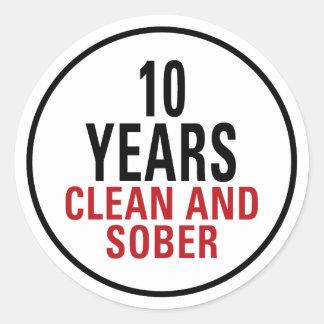 10 años limpian y calman pegatina redonda