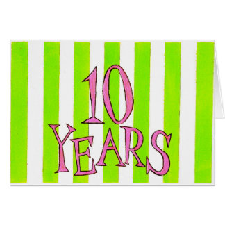 10 años tarjeta de cumpleaños/del aniversario de