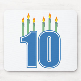 10 Birthday Candles (Blue / Green) Mouse Pad