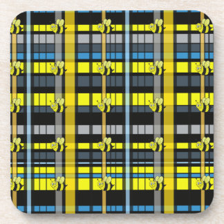 10.Black and Yellow Plaid Bumble Bees Design Beverage Coaster
