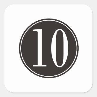 #10 Black Circle Square Sticker