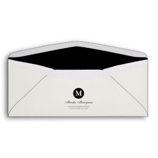 #10 - Black & Cream Monogram (Black inside) Envelope