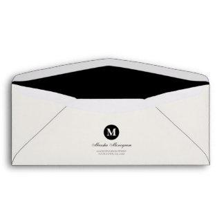 #10 - Black & Cream Monogram (Black inside) Envelope