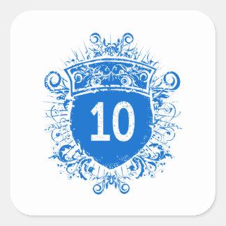 #10 Blue Shield Square Sticker