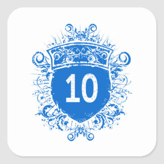 #10 Blue Shield Square Sticker