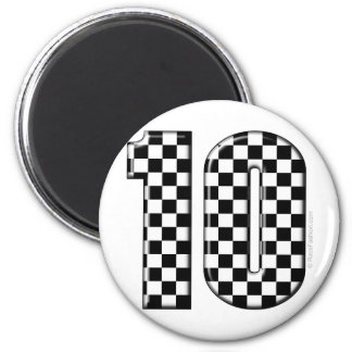 10 checkered auto racing number 2 inch round magnet