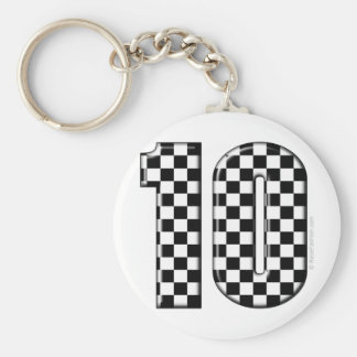 10 checkered auto racing number basic round button keychain