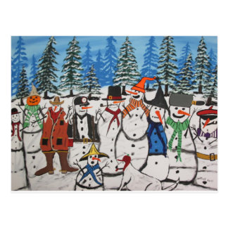 10 Christmas Snowmen Postcard