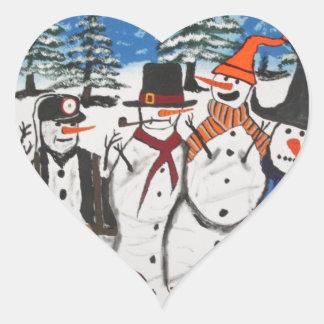 10 Christmas Snowmen Heart Sticker