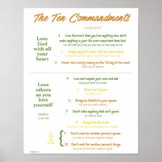 10 Commandments for Kids--Earth Tones Poster