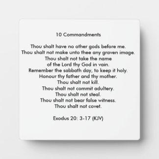 10 Commandments Square Photo Plaque