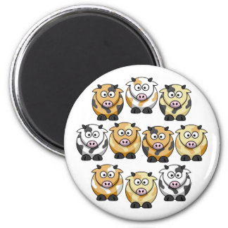 10 Cow Round Magnet