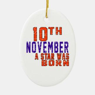 10 de noviembre una estrella nació adorno ovalado de cerámica