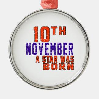 10 de noviembre una estrella nació adorno redondo plateado