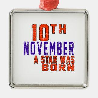 10 de noviembre una estrella nació adorno cuadrado plateado