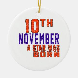 10 de noviembre una estrella nació adorno redondo de cerámica