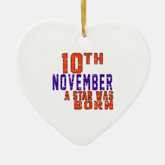10 de noviembre una estrella nació adorno de cerámica en forma de corazón