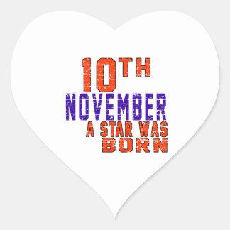 10 de noviembre una estrella nació pegatina corazón personalizadas