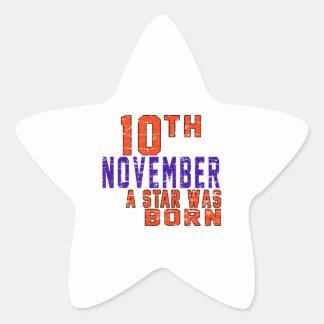 10 de noviembre una estrella nació calcomania forma de estrella personalizadas