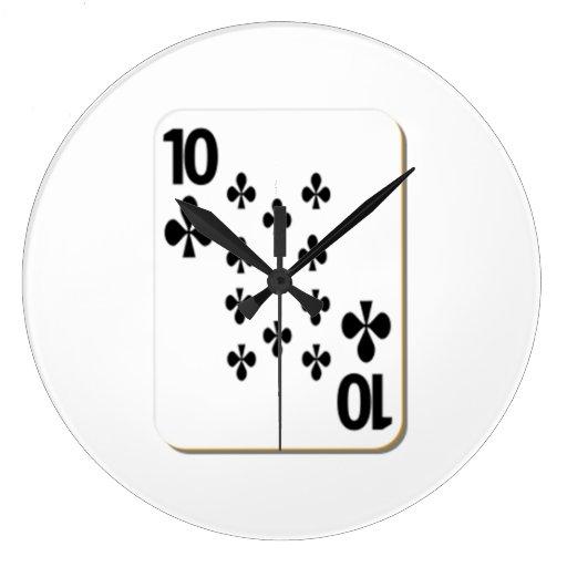 10 del naipe de los clubs relojes de pared