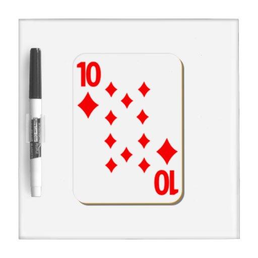 10 del naipe de los diamantes tablero blanco