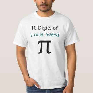 10 dígitos de pi para la camisa del blanco del día