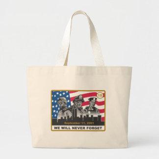 10 diseño del aniversario del año 9/11 bolsa tela grande