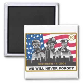 10 diseño del aniversario del año 9/11 imán cuadrado