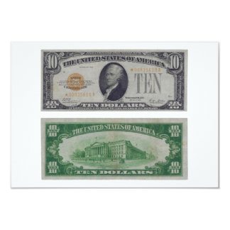 10 Dollar United States Gold Certificate 3.5x5 Paper Invitation Card