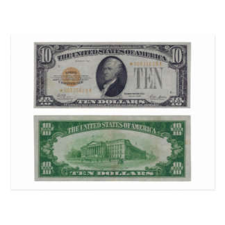 10 Dollar United States Gold Certificate Postcard