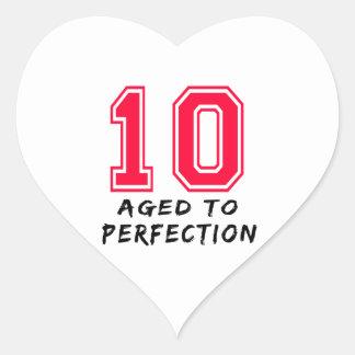 10 envejeció al diseño del cumpleaños de la calcomania corazon
