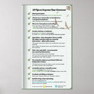 10 extremidades para mejorar su gramática póster