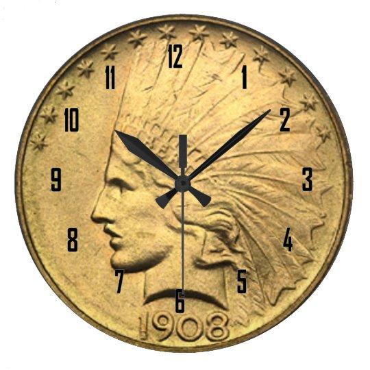 $10 GOLD PIECE LARGE CLOCK