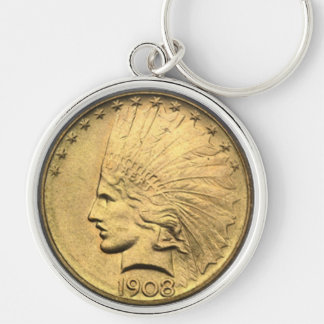 $10 GOLD PIECE Silver-Colored ROUND KEYCHAIN