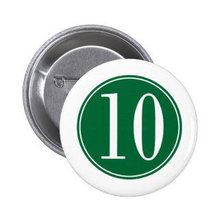 #10 Green Circle 2 Inch Round Button