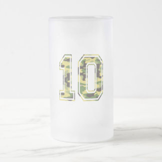 #10 Green & Yellow Camo Frosted Glass Beer Mug