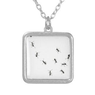 10 hormigas collar plateado